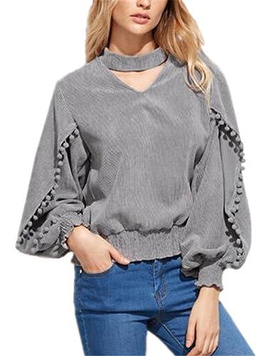 BESTHOO Mujer Relajado Camiseta Lace Mangas Largas Camisas V Cuello Blusa Elegante Casual Ocasionale...