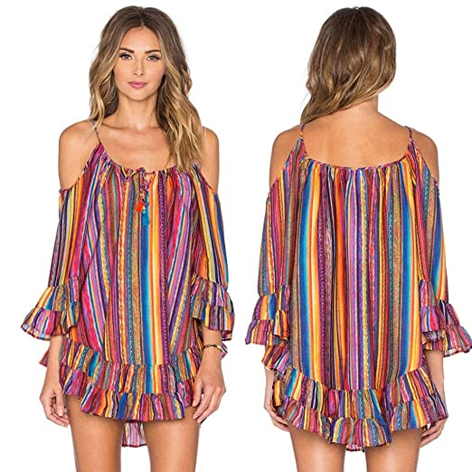 4c03a946a3 Clearance Women's Rainbow Striped Print Tassels Beach Dress Straps Off  Shoulder Ruffles Dress (S,