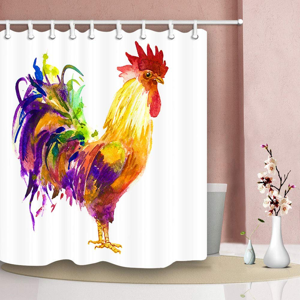 Mildew Resistant Polyester Fabric Bathroom Decor Watercolor Farm Animal Rooster 69x70 Inch JAWO Cock Shower Curtain Bath Curtain with Hook Bathroom Accessories
