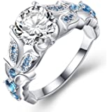 Vibrille Vintage Split Shank Created Sapphire Cubic Zirconia Engagement Rings for Women Sterling Silver