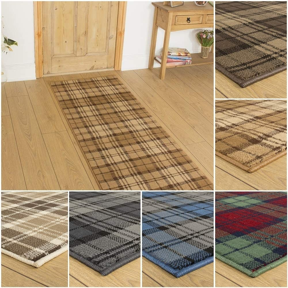 Blue Beige 600cm Tartan Hallway Carpet Runner Brown Black Gold or Red//Green Any Length Between 150cm
