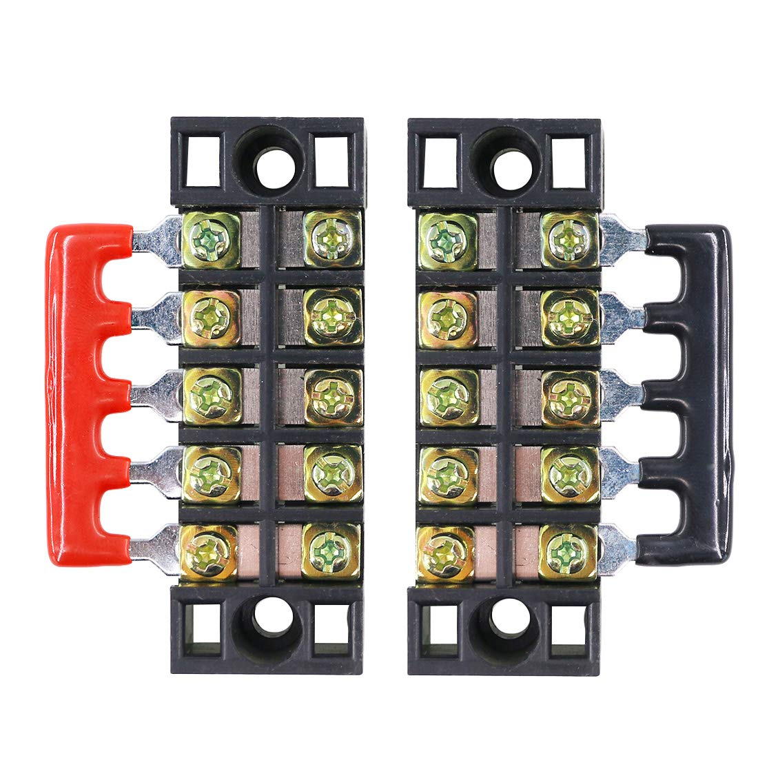 Hilitchi 12pcs 600V 15A 5 Position Double Row Screw Terminal Strip and 400V 10A 12 Postions Red//Black Pre Insulated Terminal Barrier Strip
