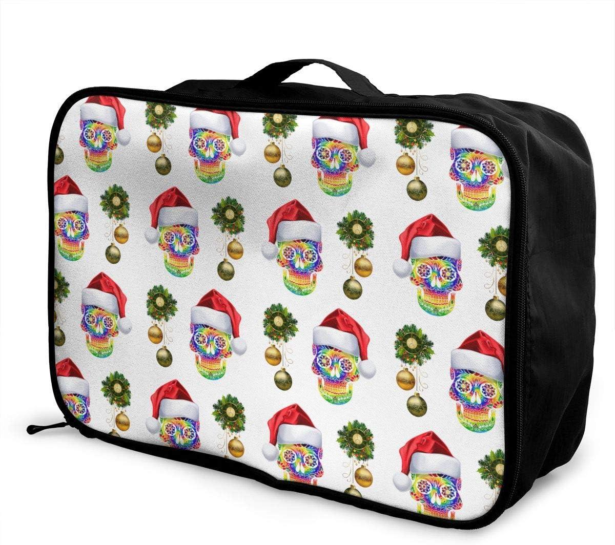 Christmas Skull Travel Carry-on Luggage Weekender Bag Overnight Tote Flight Duffel In Trolley Handle