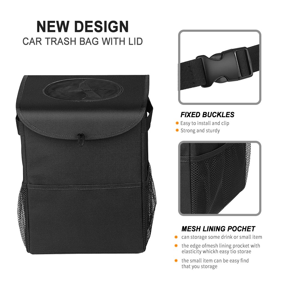 TURNRAISE Car Trash Bin Trash Can Garbage Bag with Waterproof Side Pockets and Lid