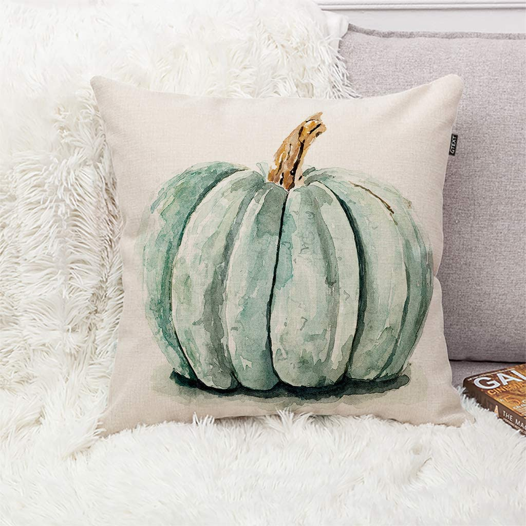 Amazon Com Gtext Fall Pumpkin Throw Pillow Cover Autumn Decor Watercolor Drawing Pumpkin Pillow Case For Couch Sofa Home Decoration Fall Pillows Linen 18 X 18 Inches Home Kitchen