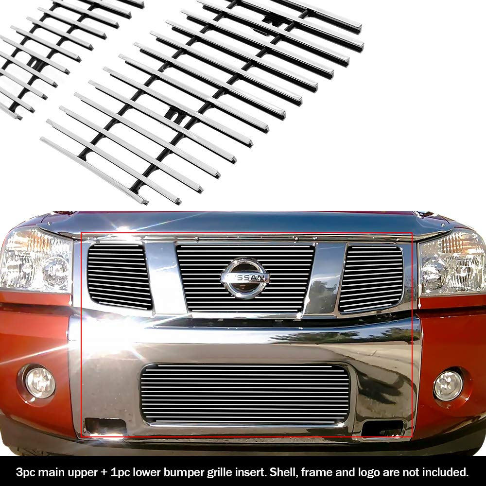 Compatible with 2004-2007 Nissan Titan Armada Billet Grille Upper+Bumper Combo N67992A by APS