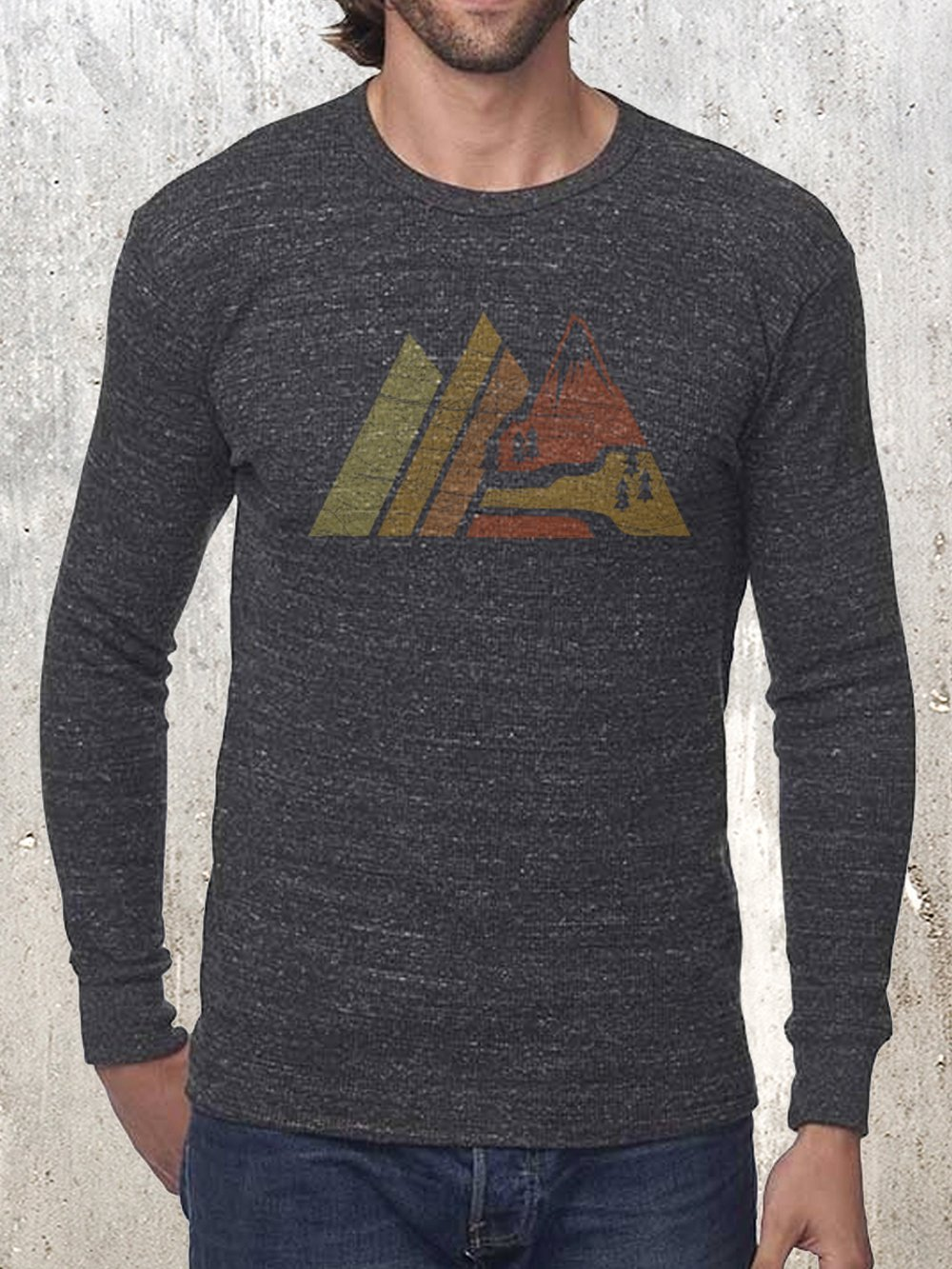 Retro Mountain Men's Heavyweight Tri-Blend Thermal - Made in the US - Organic Cotton and Recycled Fabrics