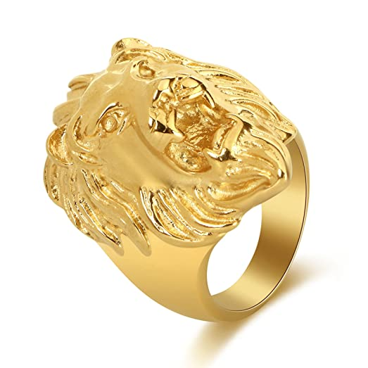 DALARAN Gold Lion Head Titanium Rings Mens Vintage Punk Biker Band