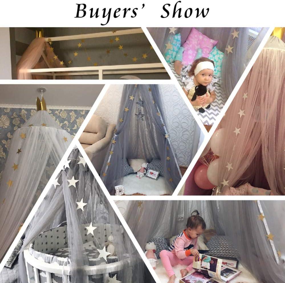 Moustiquaire Rose de Lit B/éb/é Cadeau Ciel de Lit D/éco Chambre Enfant Baldaquin Lit Fille Princesse Suspendre Accessoires de Literie DIY