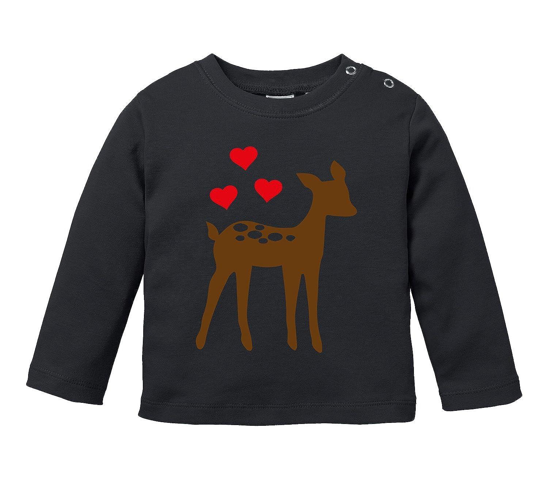 Angry Shirts Niedliches REH mit Drei Herzchen - Bio Baby Longssleeve BLS-5019