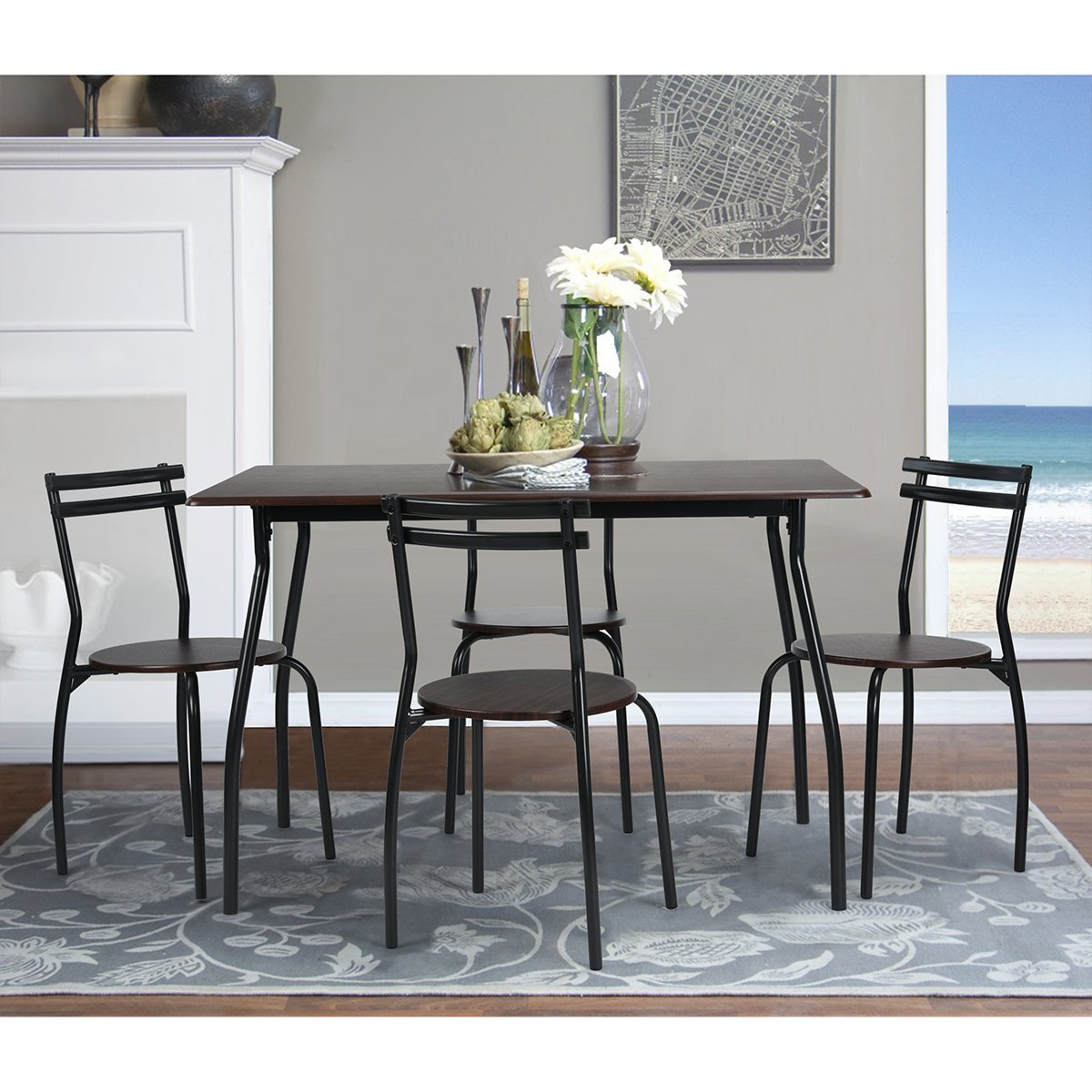 Coavas 5pcs Dining Table Set Kitchen Furniture Kitchen Table Rectangle Dining  Table With 4 Round Dining