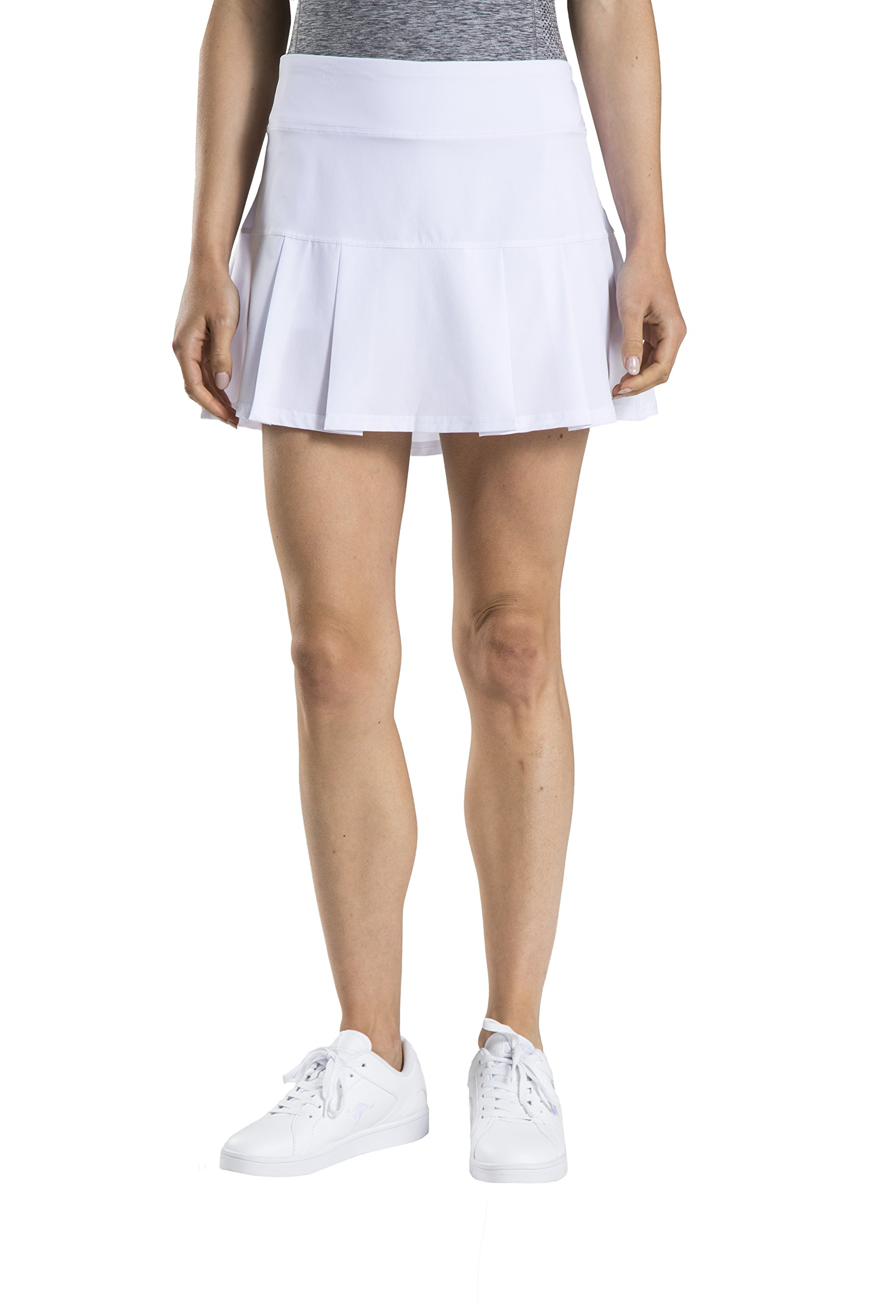 Prince Women's Stretch Woven Pleated Tennis Skort, White, Small by Prince (Image #1)