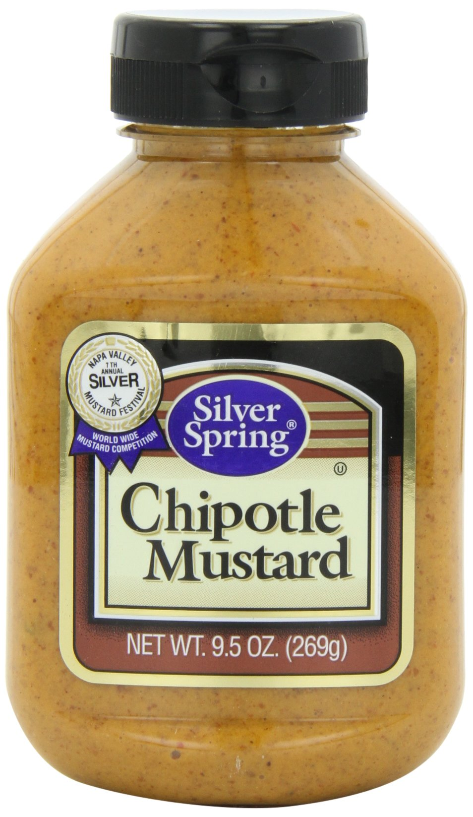 Silver Springs Mustard, Chipotle, 9.5-Ounce Squeeze Bottles (Pack of 9)