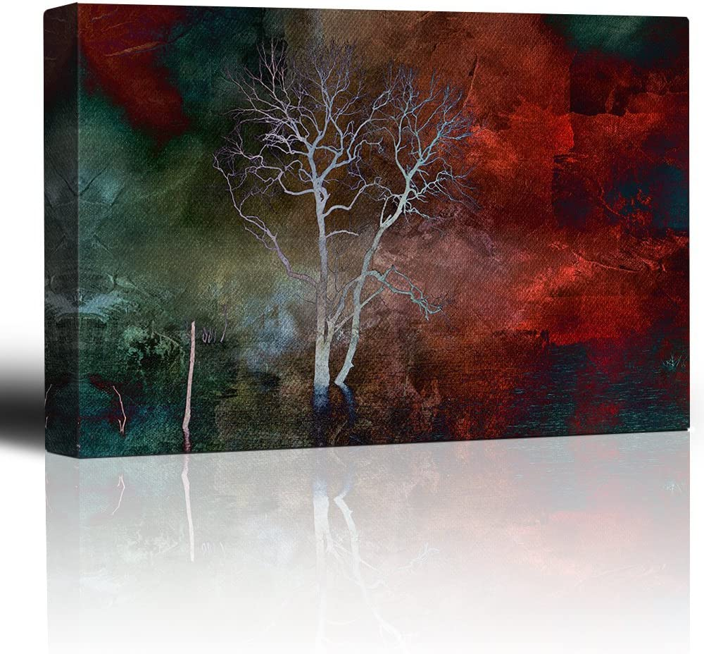 Lone Tree Over a Red and Teal Watercolor Paint, Made With Love, Stunning Piece of Art