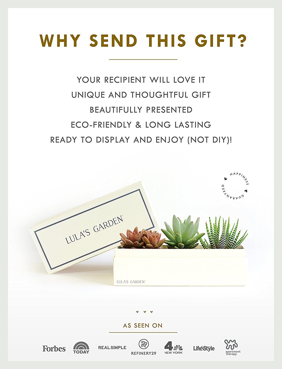 Live Succulent Plant - Garden Centerpiece with I Love You Gift Box - Perfect and Unique Gift for Wife, Mom, Friend, Co-Workers, Boss or Teacher (Jewel Garden, I Love You) by Lula's Garden (Image #4)