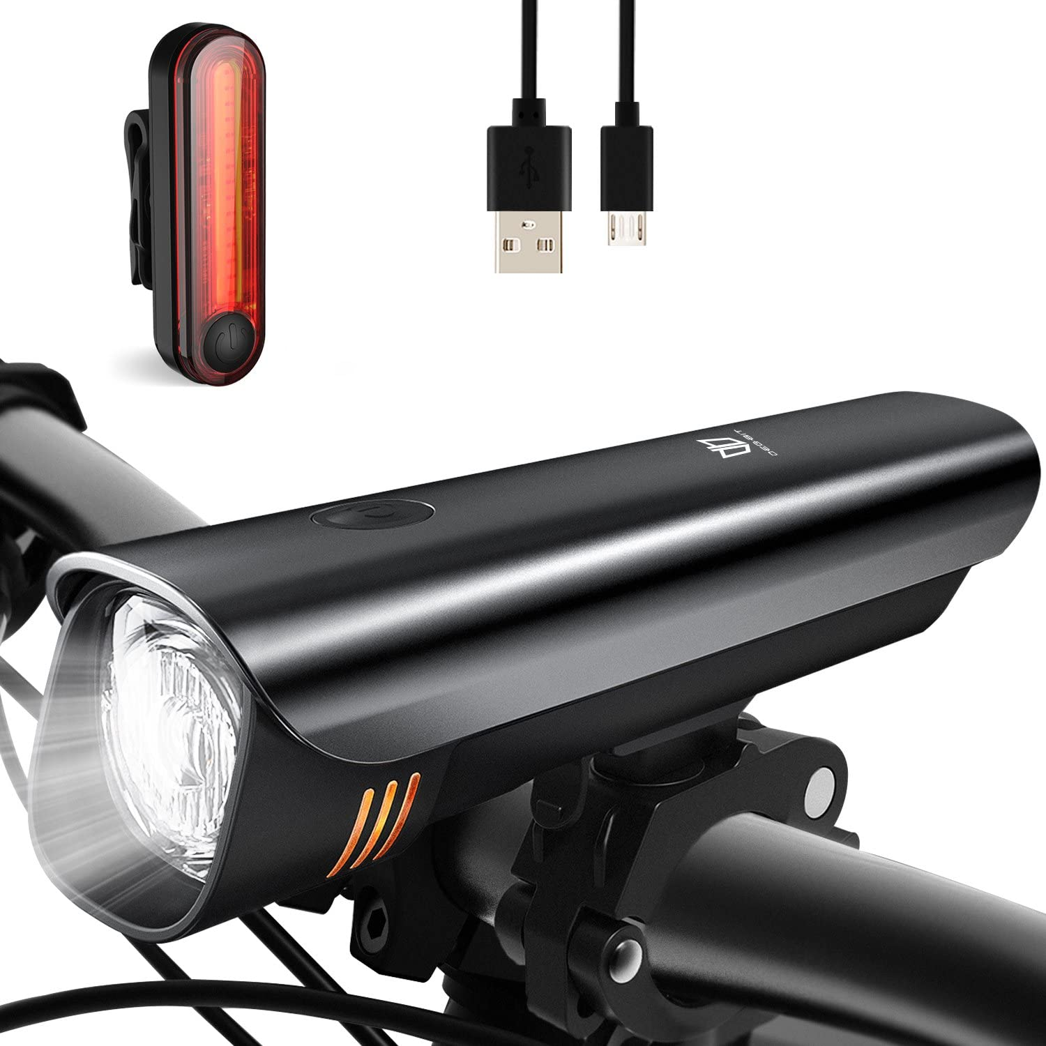 Anti-glare Safety Bike Lights Front and Back, DB DEGBIT Waterproof USB Rechargeable LED Bicycle Light Set, Powerful 4-mode Bright Headlight Free Rear Light, Easy Install Release Cycling Flashlight