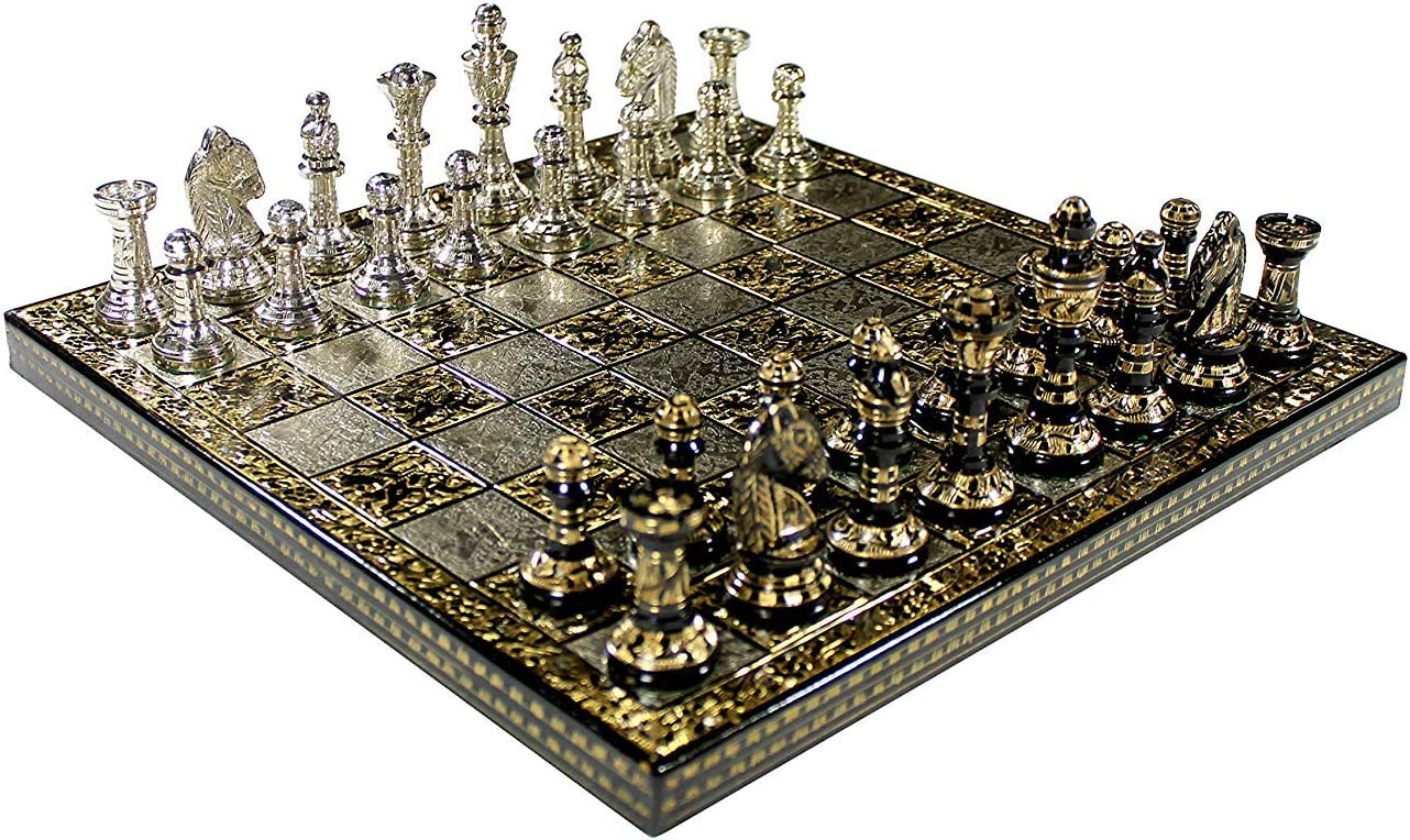 Blessings Decor Collectible Premium Metal Brass Chess Board Game Set Brass Chess Pieces Men stored in Velvet Storage Box. (12 X 12 in)