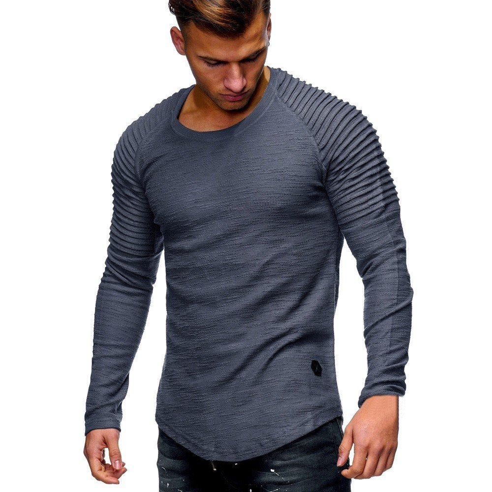 XUANOU Men Long Sleeve T-Shirt Striped Pleated Shoulder Shirt Mens Casual Tops Solid Color Pleated Round Neck Blouse