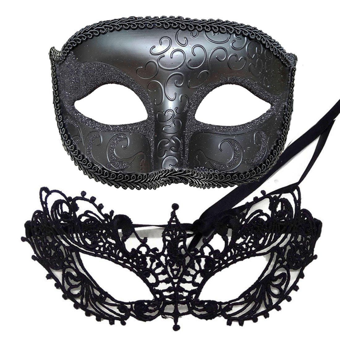 IDOXE Fashion Lace Couple Masquerade Masks Venetian Women Men Mask for Halloween/Party / Ball Prom/Mardi Gras/Wedding / Wall Decoration