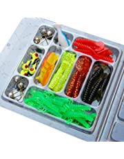 Chinatera Mens Fishing Tackle Set: 35Pcs Soft Worm Fishing Lure Baits + 10Pcs Lead Jig Head Hooks Simulation Lures with Tackle Box One Size Multi-Color