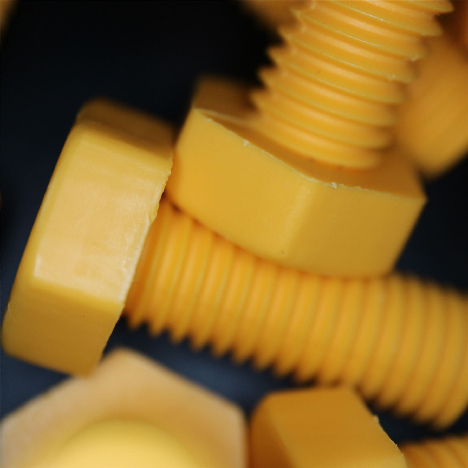 30 x Yellow Screw Polypropylene (PP) Plastic Nuts and Bolts, M10 x 25mm, Water Resistant, Anti-Corrosion, Chemical Resistant, Electrical Insulator, Strong. by Caterpillar Red
