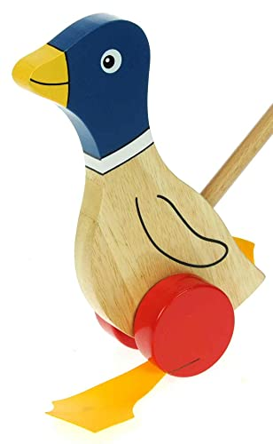 Namesakes Baby Toddler Push Along Wooden Toys for 1 2 & 3 Year Olds : Cute Blue Duck with Flappy Feet for Boys or Girls