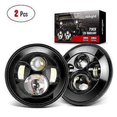 Nilight 2PCS 7 Inch Round Cree LED Headlight High Low Beam for Jeep Wrangler JK TJ JL CJ 1997-2020 Rubicon Sahara Hummber H1 H2 Motorbikes, 2 Years Warranty: Automotive