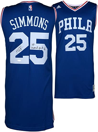355f8cb64 Ben Simmons Philadelphia 76ers Autographed Blue Swingman Jersey  with quot 1st Overall Pick 16 quot  Inscription