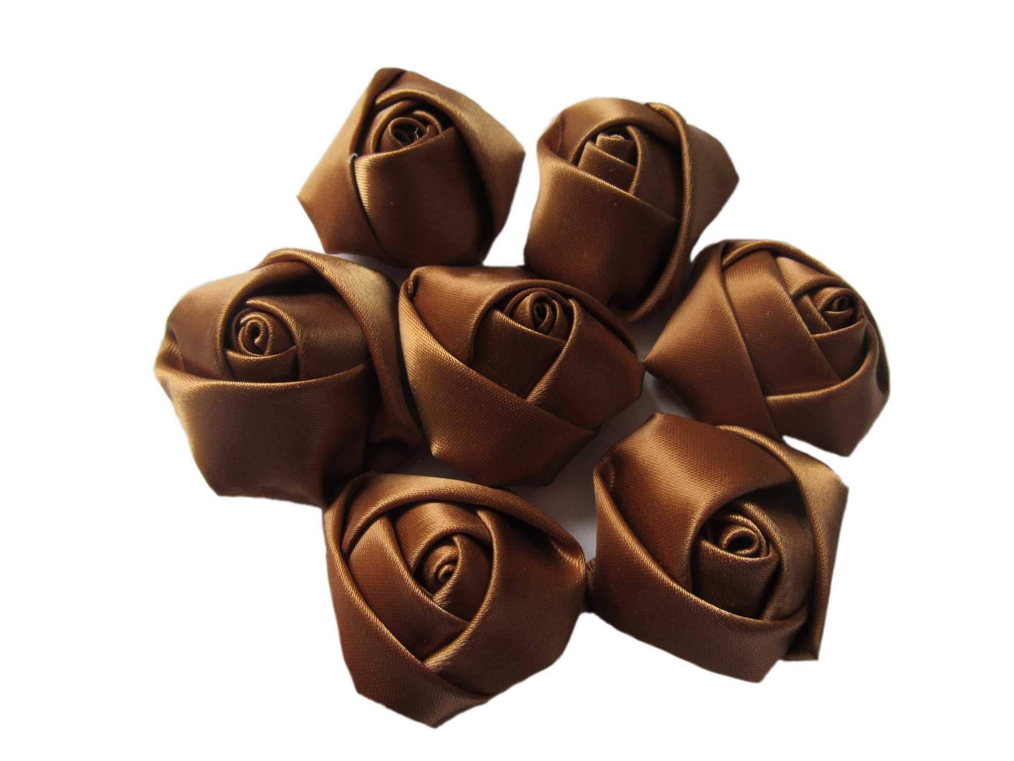 YYCRAFT-30pcs-Satin-Rose-15-Rose-Flower-for-Craft-Wedding-Bride-BouquetChocolate