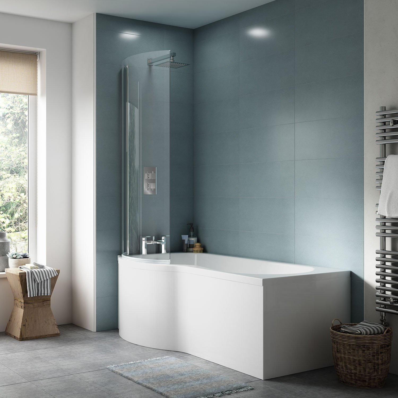 Premier NPB135 P Shape Shower Front Bath Panel, White, 1700mm