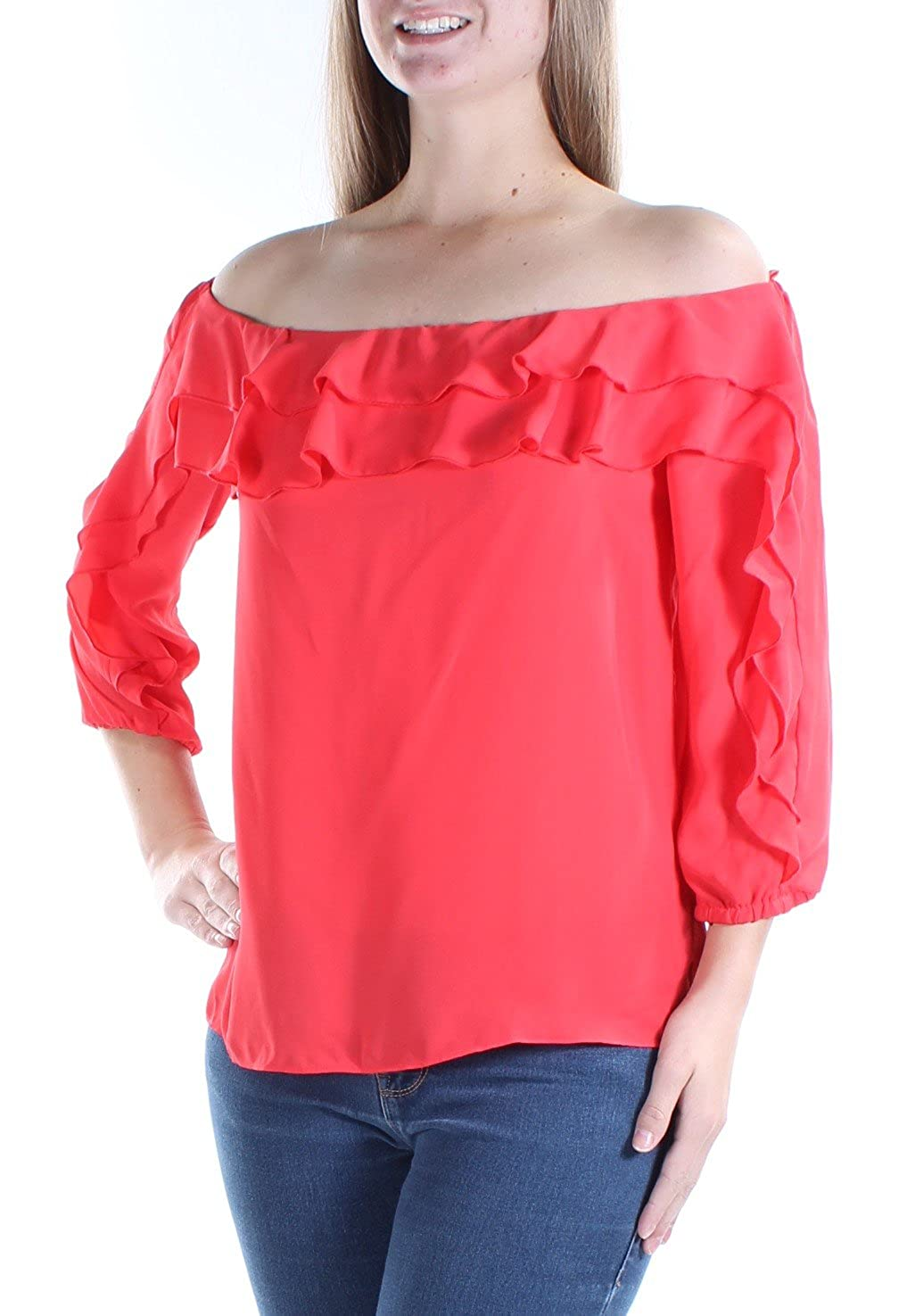 95671afeb8ef3 INC International Concepts Ruffled Off-The-Shoulder Top (Hibiscus Bloom