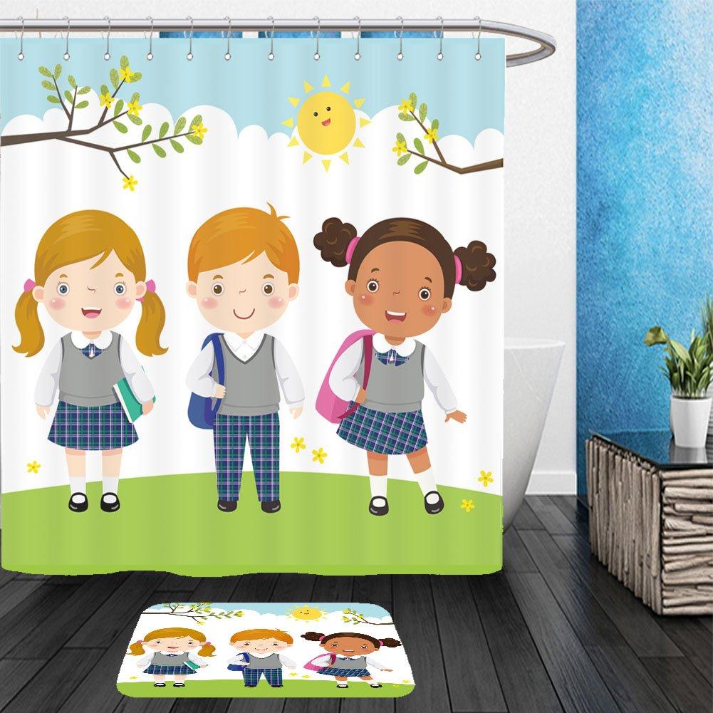 Vanfan Bathroom 2Suits 1 Shower Curtains & 1 Floor Mats vector illustration of three kids in school uniform going to school 406350043 From Bath room