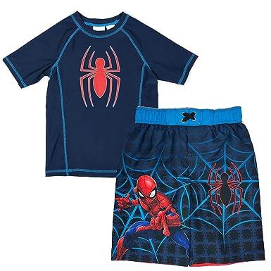 8e75798a85 Spiderman Swimsuit for Boys - Swim Trunks & Rash Guard Set UV  Protection/UPF 50