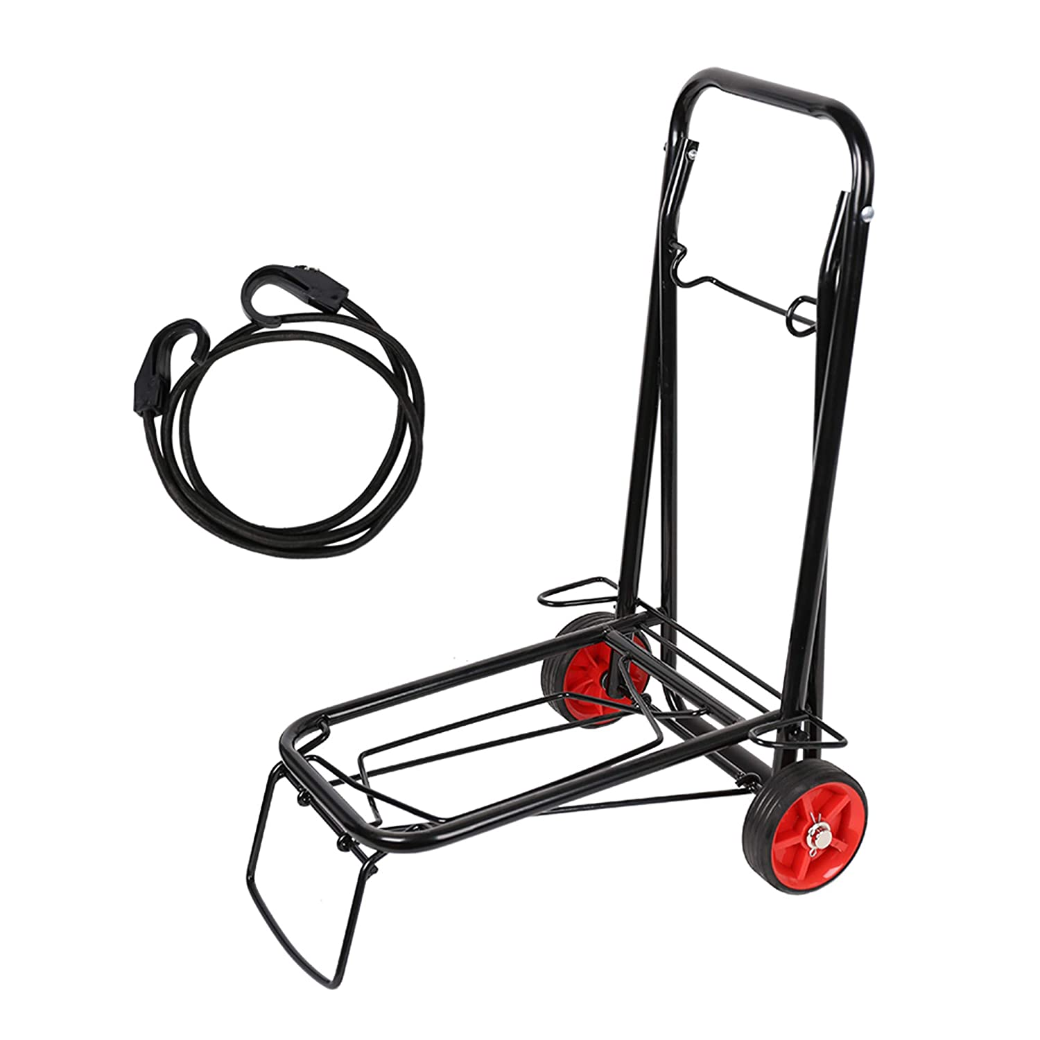 99ca06f2b8a0 Lucky Tree 55 lbs Lightweight Luggage Cart with Bungee Folding Hand Truck  Cart with Wheels for Transport Luggage Grocery,Black
