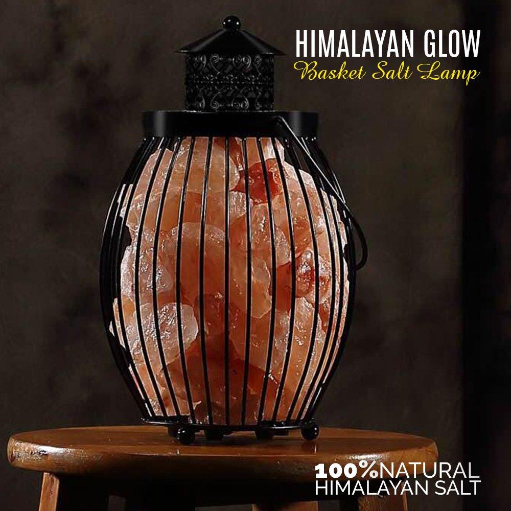 Himalayan Glow Tall Round Basket 1301B Night Light Salt Lamp with Pink Salt Chunks