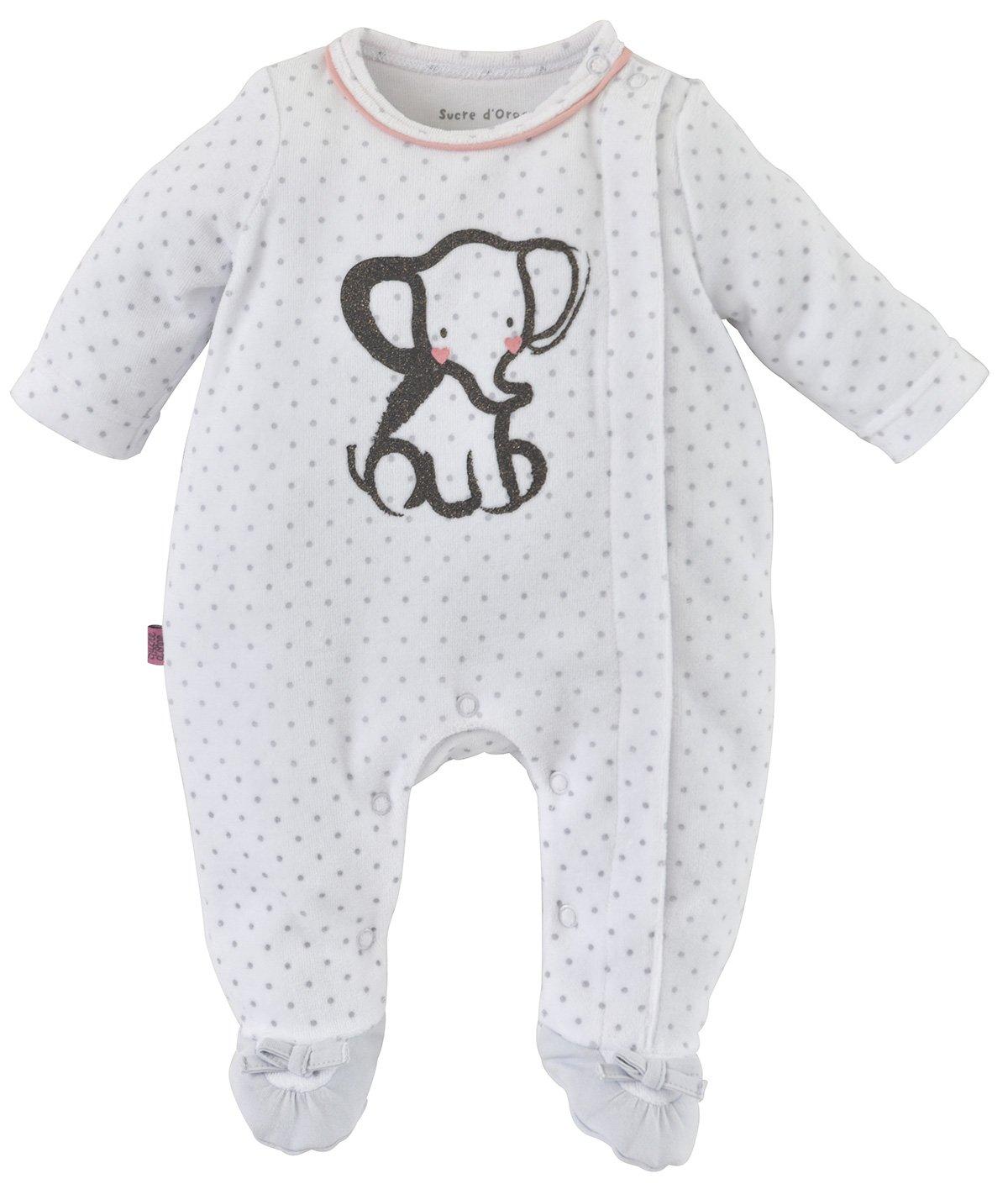 Sucre D'Orge - sleepwear - Fé minin - 1 - pyjama bebe fille naissance - Taille 0 mois - Couleur Gris Sucre D' Orge