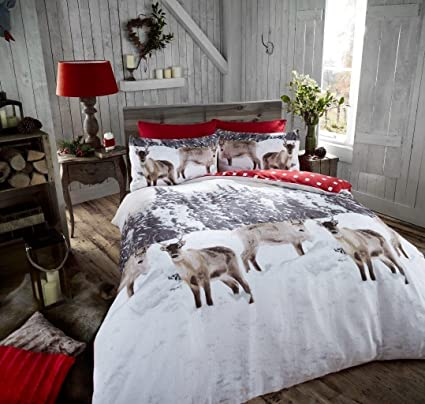 Reindeer North Pole Bundle Bedding Brushed Cotton Flanelette Duvet Set SUP//KING