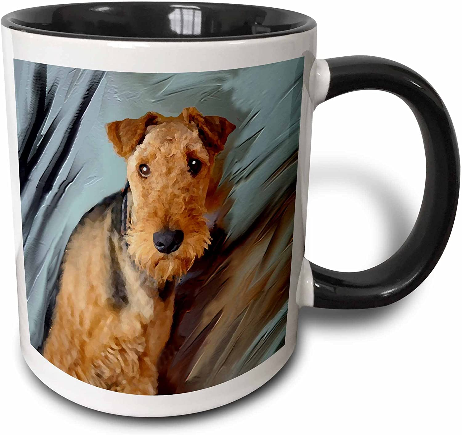 3dRose Airdale Terrier Portrait-Two Tone Black Mug, 11 oz, Multicolored