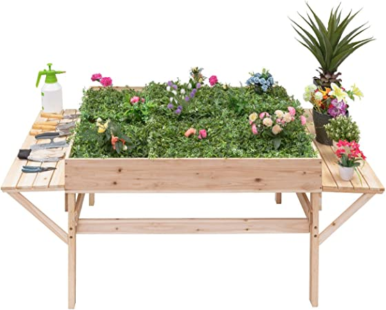 Giantex Garden Raised Bed Wood Flower Elevated Gardening Planter w/ on edible garden ideas and designs, raised bed planters using tires, raised brick flower bed designs, round raised garden beds designs, raised garden planters outdoor, raised bed furniture designs, raised backyard vegetable garden ideas, raised bed trellis designs, raised bed gardening designs, vegetable garden box designs, beautiful landscape flower beds and designs,