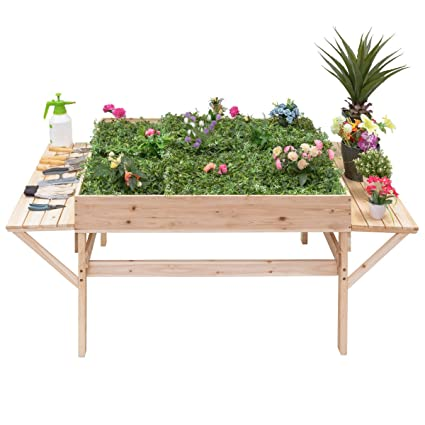 Gentil Giantex Garden Raised Bed Wood Flower Elevated Gardening Planter W/ 2 Side  Platforms Plant Workstation