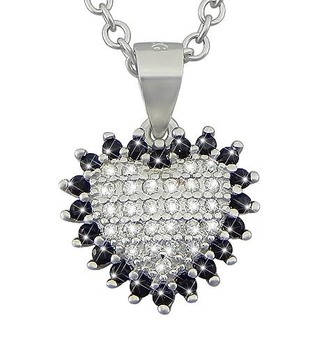 f7fa97f51afa hanessa de plata de ley 925 rodiada de mujer joyas collar de cadena y  colgante de corazón auténtica plata con piedras negras y circonitas -  Regalo para la ...