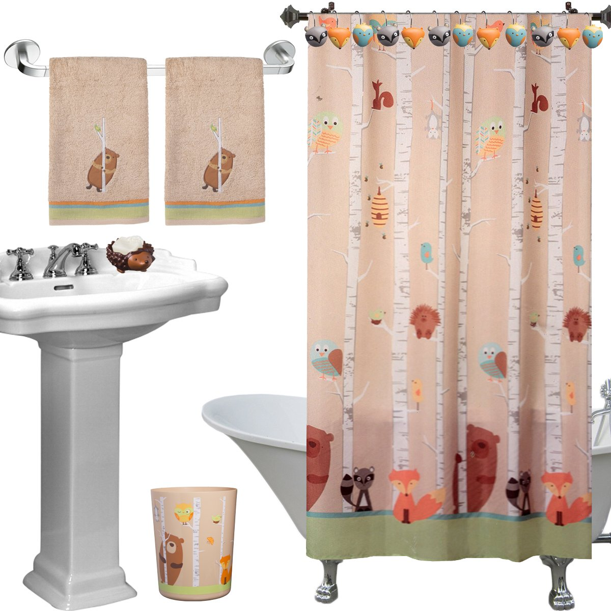 6pc Forest Friends Complete Bathroom Set