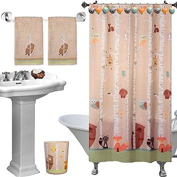 Exceptionnel 6pc Set Unique Cute Forest Friends Complete Bathroom Accessories Set Decor  Towels Shower Curtain Hook Trash