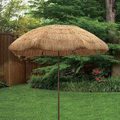 8 feet Round Hawaiian Style Outdoor Thatched Tiki Umbrella with Tilt and Carry Bag Including 8 Feet, Natural