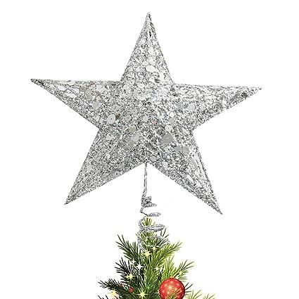 Stella Di Natale In Casa.Cusfull Stella Per Punte Albero Di Natale Decorazione Di Argento Per Natale Bianco Con Paillettes Stella Di Metallo 25cm Per Tazza Di Albero