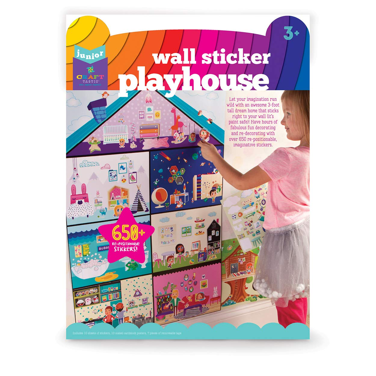 Craft tastic Jr – Wall Sticker Playhouse – 3 Foot Tall Dreamhouse with Over 650 Reusable Stickers