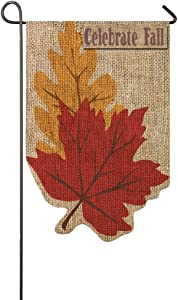 Welcome Fall Leaves Shaped Burlap Garden Flag