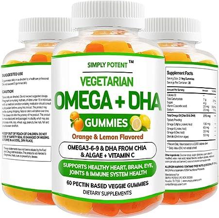 Omega 3 Gummies, Fish Oil Free Vegan Omega 3 6 9 + DHA, Chia Seed & Algae Based Omega 3 Supplement for Men Women & Kids for Brain Heart Joint Eye & Immune Health, 60 Orange & Lemon Flavor Gummies