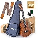 Concert Ukulele 23 Inch Sapele Ukelele Uke Starter Kit for Beginners with Gig Bag Strap Strings Tuner by Horse