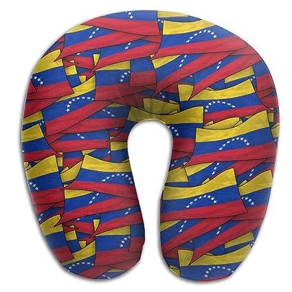 Venezuela bandera Wave Collage almohada de viaje almohada de cuello para viaje (viscoelástica con funda